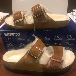 Birkenstock Arizona Fur mink asst narrow new